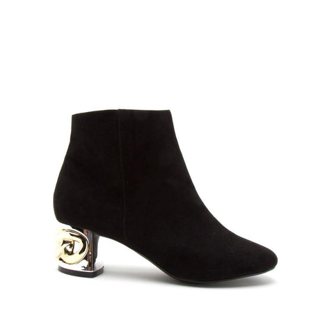 Stormy-01 Black Embellished Ankle Bootie