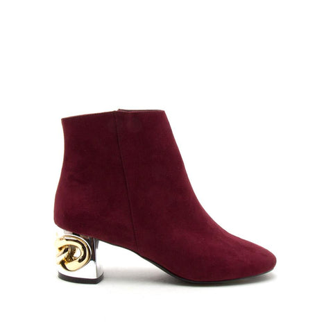 Stormy-01 Burgundy Embellished Ankle Bootie