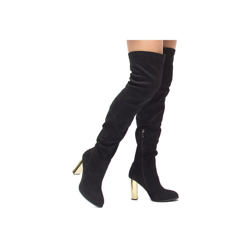 SUNBURST-01 Black Knee High Boot