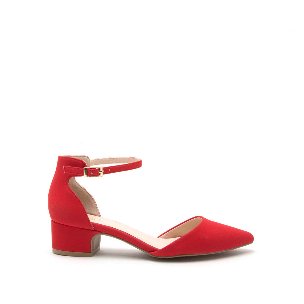 eabb2a28895 Qupid Women Shoes Swing-01 Red Ankle Strap Sandal