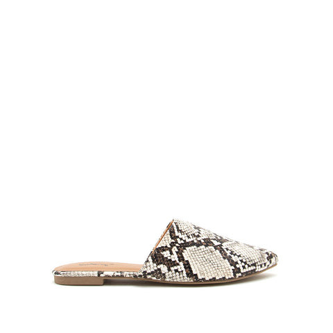 Swirl-126 Ivory Brown Snake Mule Slide