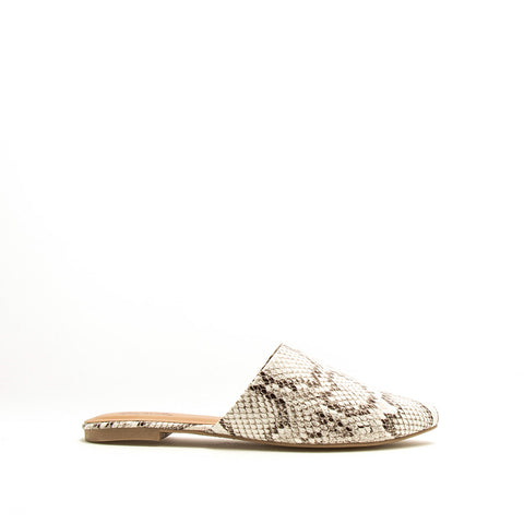 Swirl-126 Off White Black Snake Mule Slide