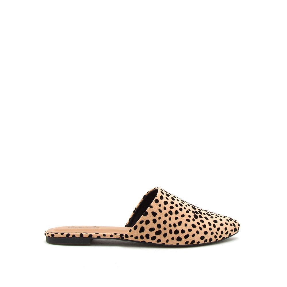 Swirl-126 Tan Black Leopard Mule Slide