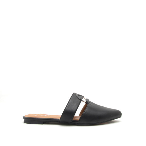 Swirl-151 Black O Ring Ballerinas