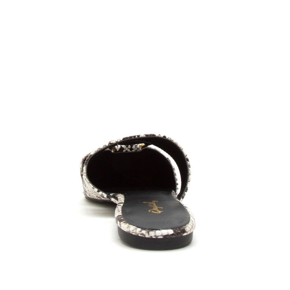 Swirl-151XX Ivory Brown Snake O Ring Ballerinas