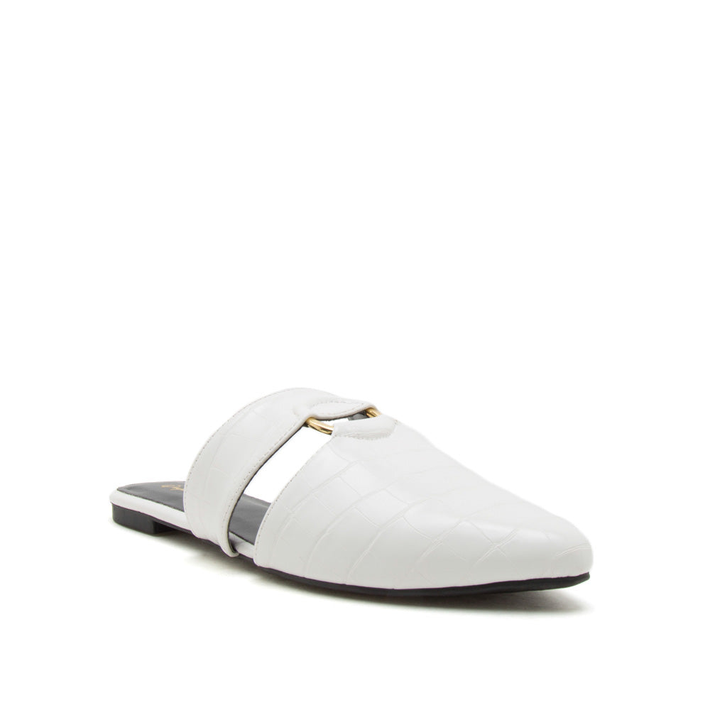 Swirl-151XX White Crocodile O Ring Ballerinas