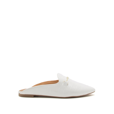 Swirl-197X White Crocodile Slide In Mules