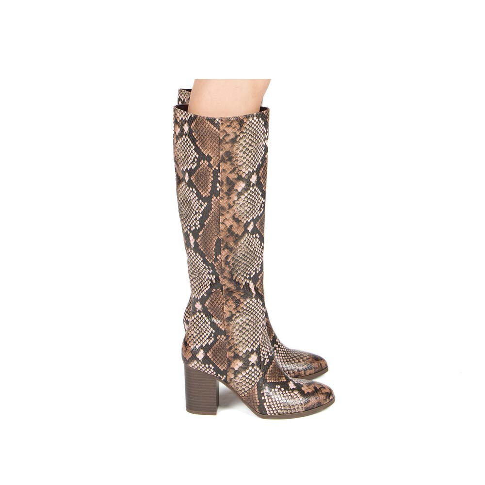 Sylas-12 Light Brown Multi Snake Knee High Boots