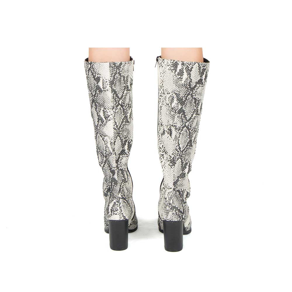 Sylas-12 Stone Black Snake Knee High Boots