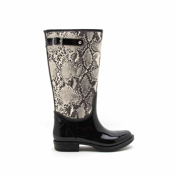 Tabatha-01 Stone Black Snake Knee High Rain Boots