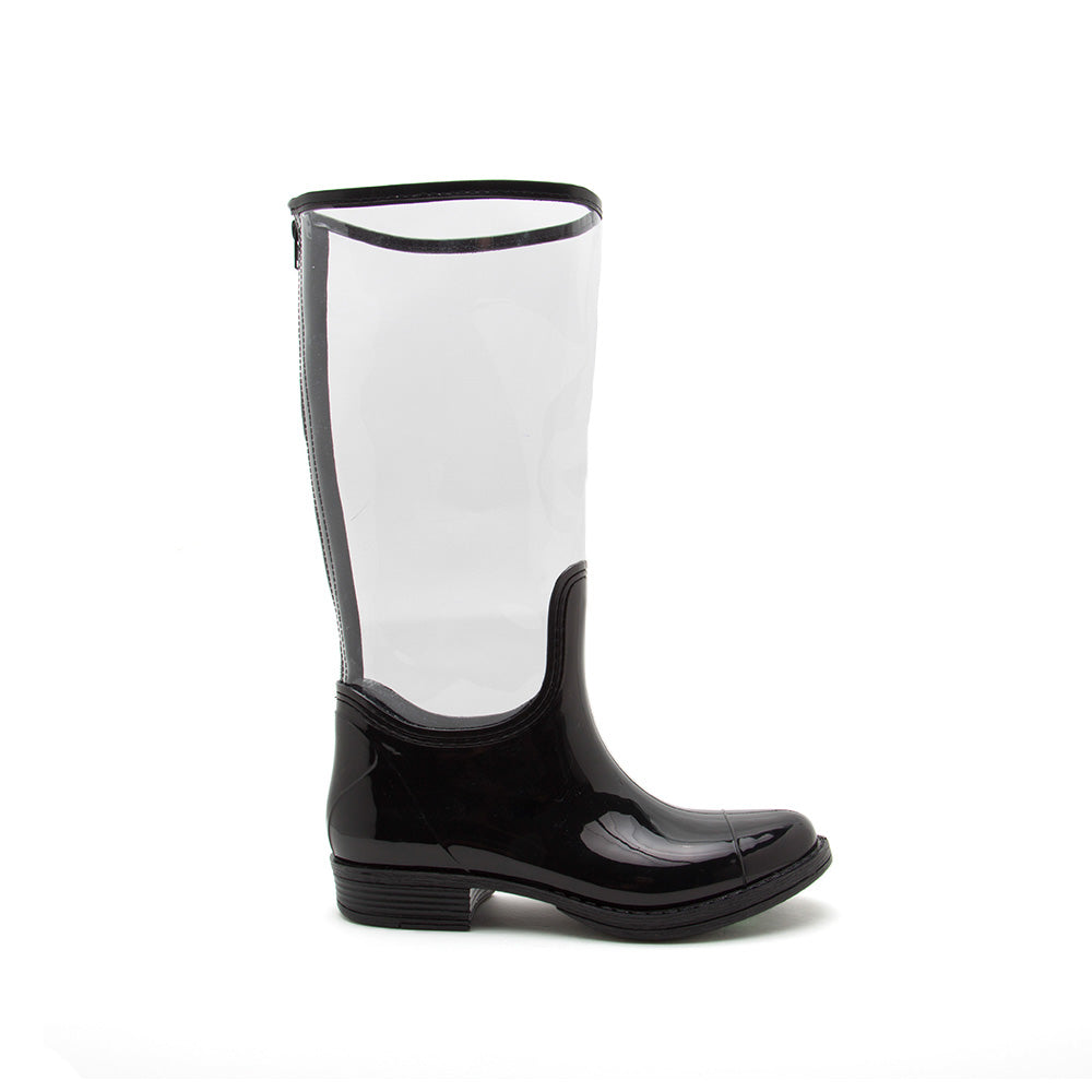 Tabatha-02 Clear Knee High Rain Boots