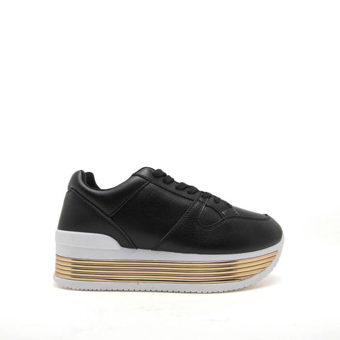 Tampa-01 Black Lace Up Platform Sneakers
