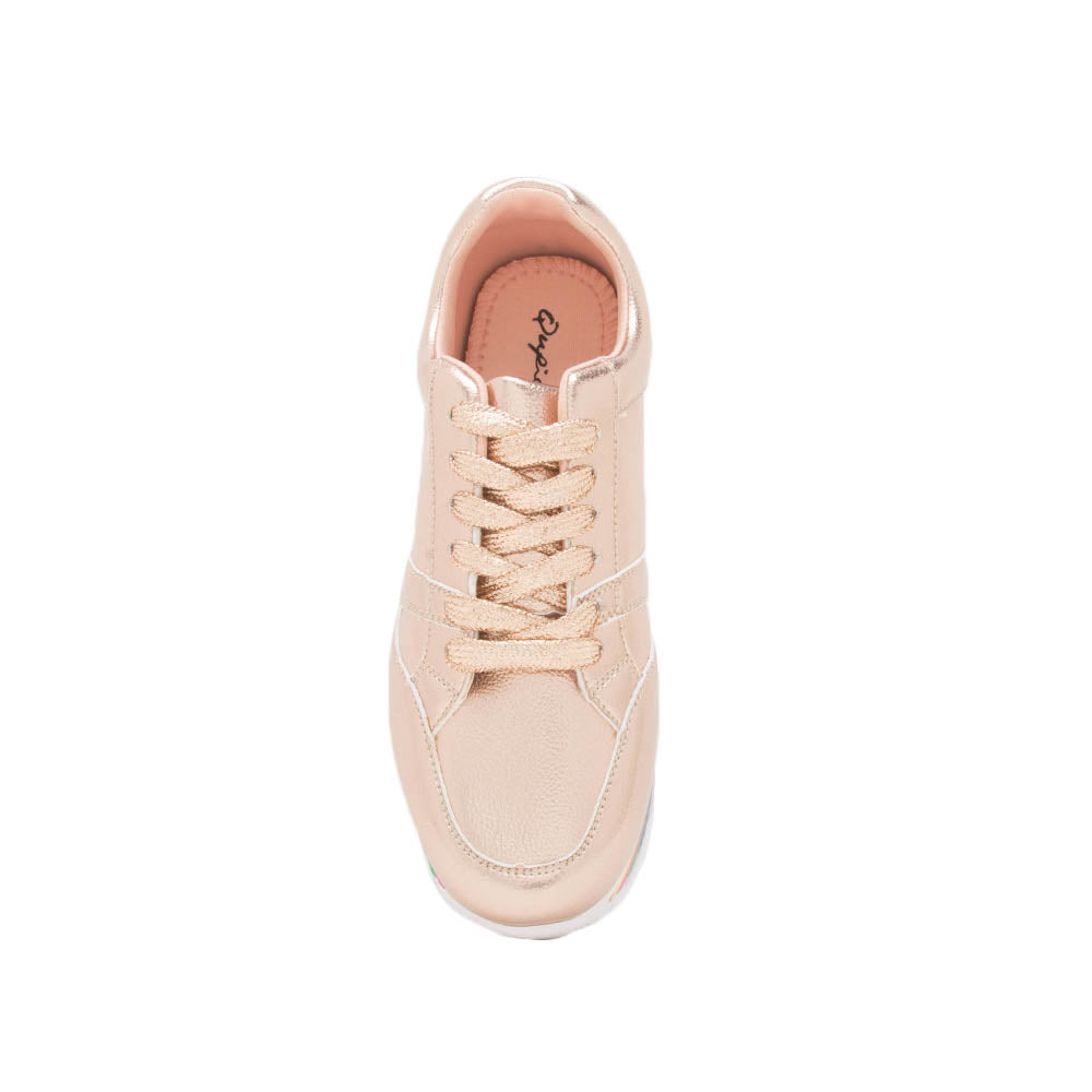 Tampa-01 Rose Gold Lace Up Platform Sneakers