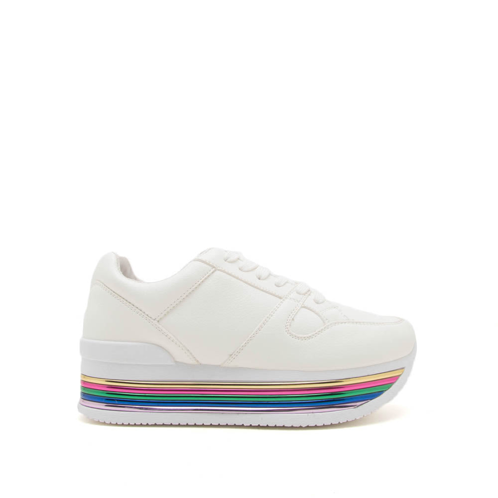Tampa-01 White Lace Up Platform Sneakers