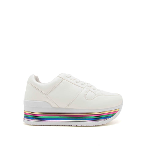 7001b2c964b4e Tampa-01 White Lace Up Platform Sneakers