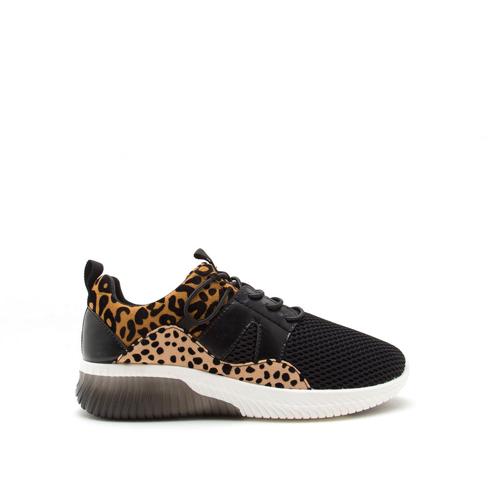 Tank-02 Camel Black Leopard Lace Up Sneakers