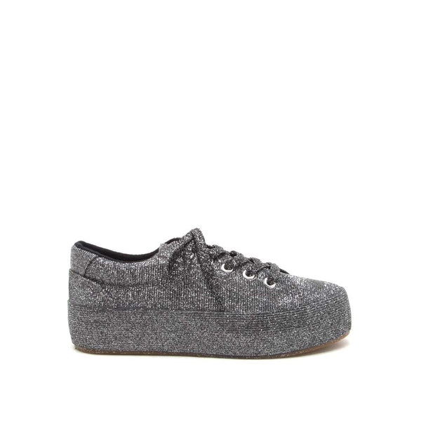 Terry-01 Pewter Glitter Lace Up Sneaker