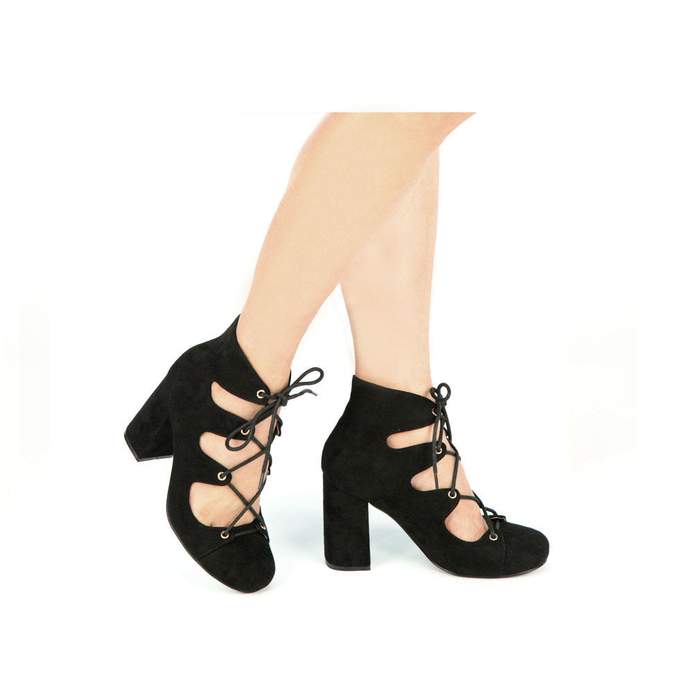 TESS-02 Black Suede Lace Up Heels