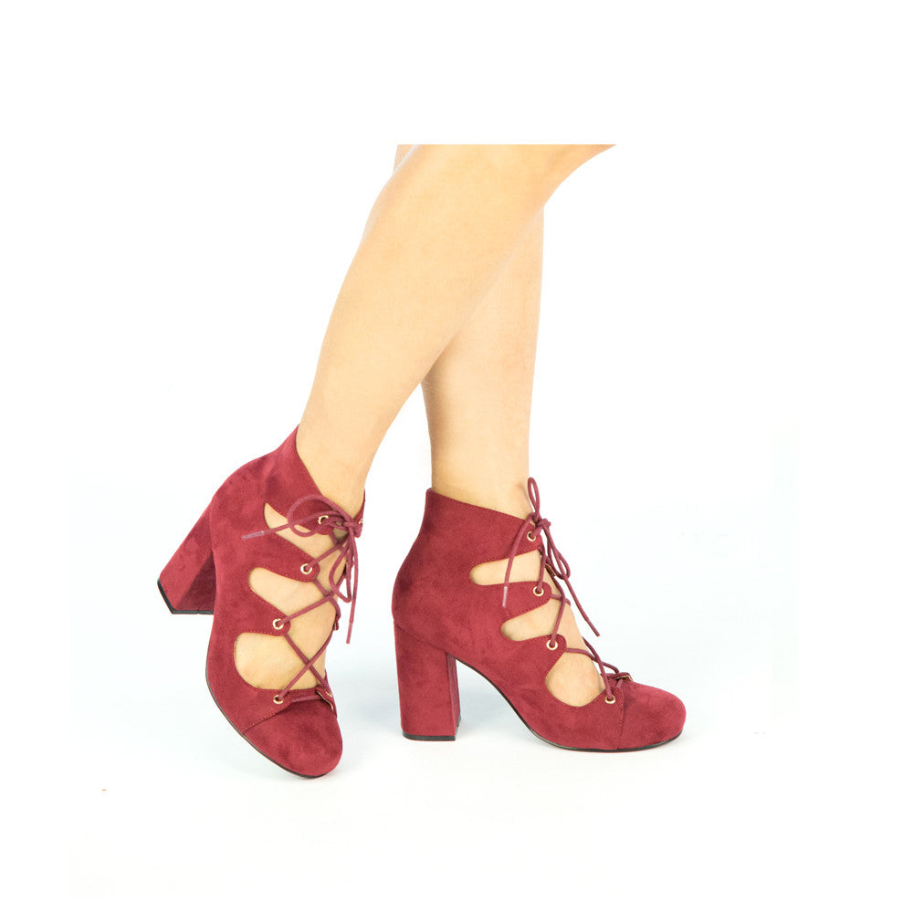 TESS-02 Burgundy Suede Lace Up Heels