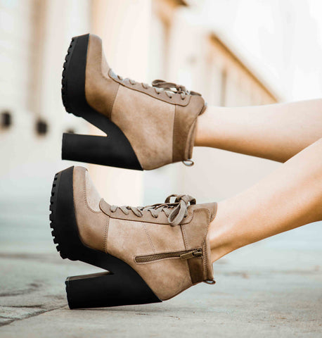 Therapy-25 Taupe Lace Up Booties