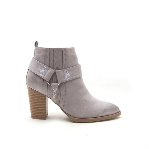 TIBER-05 Light Grey Embroidered Harness Bootie