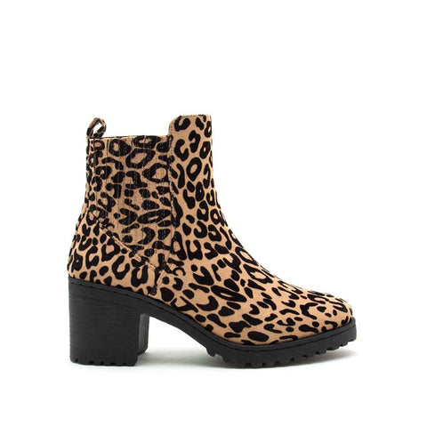 Timothy-14AXX Tan Black Leopard Chelsea Booties