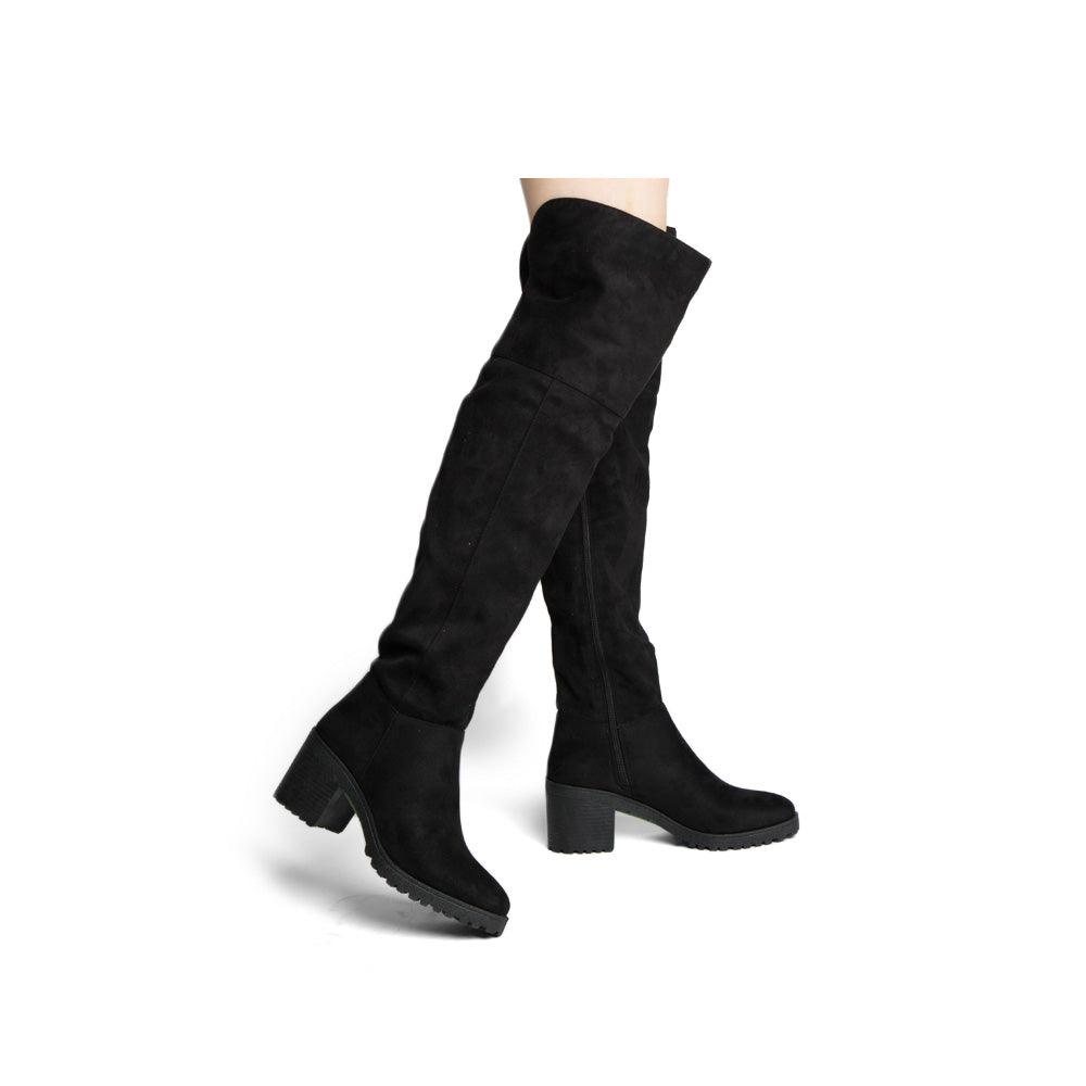 Timothy-16AX Black Knee High Boots