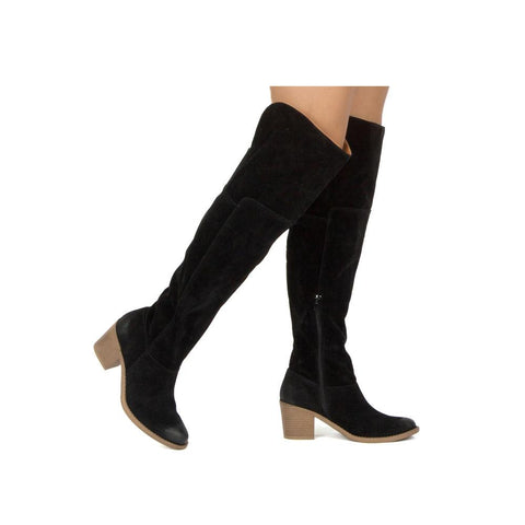 Tobin-108 Black Oil Over The Knee Boot