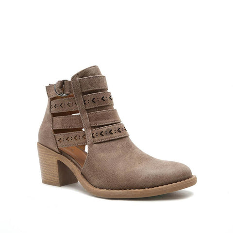 TOBIN-34 Taupe Chevron Detailed Booties