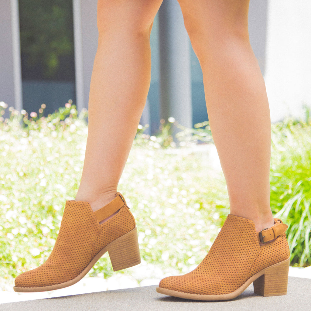 TOBIN-45 Tan Perforated Buckle Bootie