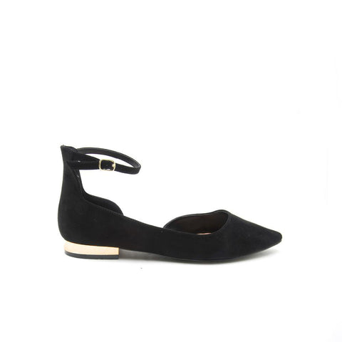 TOKEN-04 Black Suede Pointy Flat