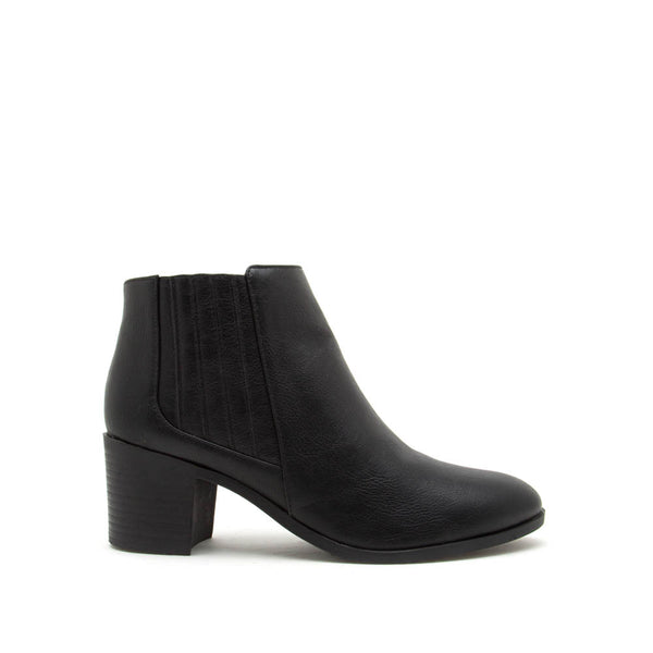 Topanga-01 Black Leatherette Chelsea Booties