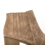 Topanga-01 Taupe Distressed Chelsea Booties