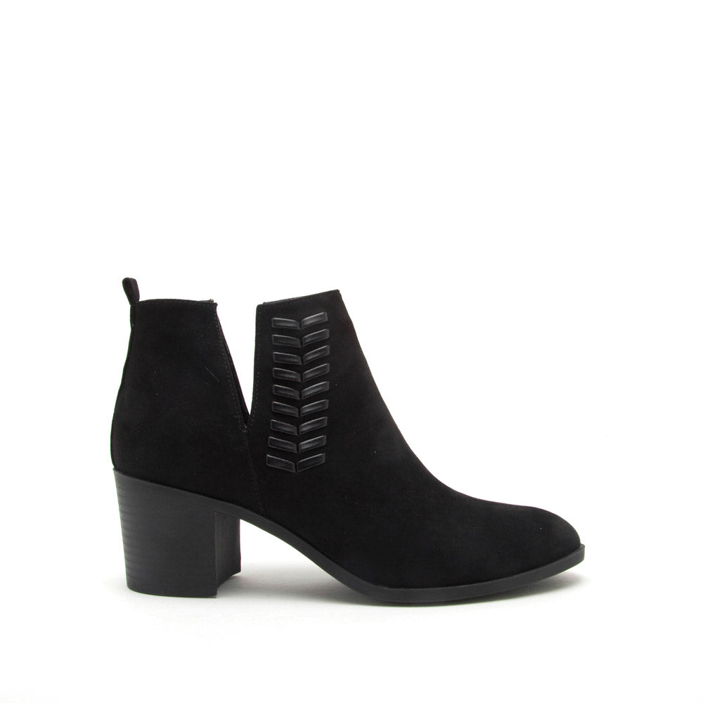 Topanga-10 Black Braided Bootie