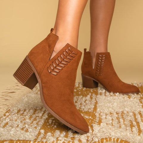 Topanga-10 Chestnut Braided Bootie