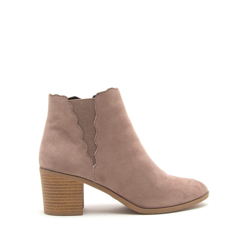 Topanga-18 Taupe Scalloped Chelsea Bootie