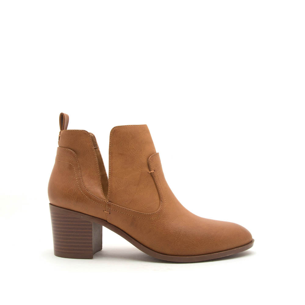 Topanga-49 Cognac Side V Cut Booties