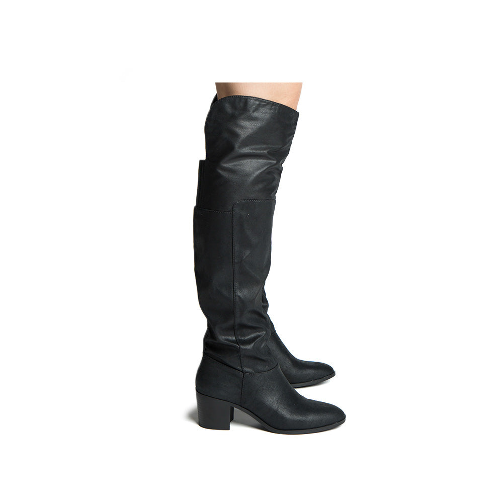 Topanga-74 Black Over The Knee High Boots