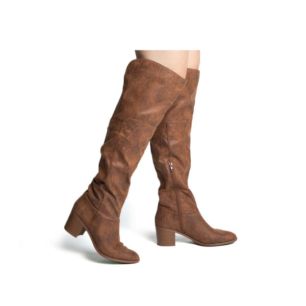 Topanga-74 Cognac Over The Knee High Boots