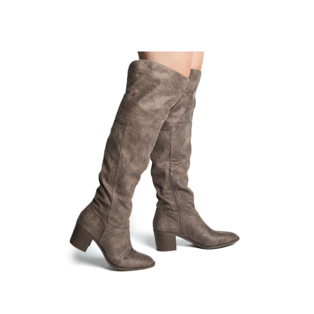 Topanga-74 Taupe Over The Knee High Boots