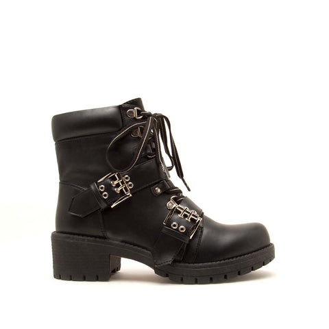 Tressa-01 Black Lace Up Combat Booties