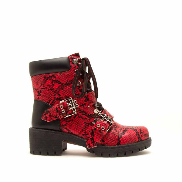 Tressa-01 Red Black Snake Lace Up Combat Booties