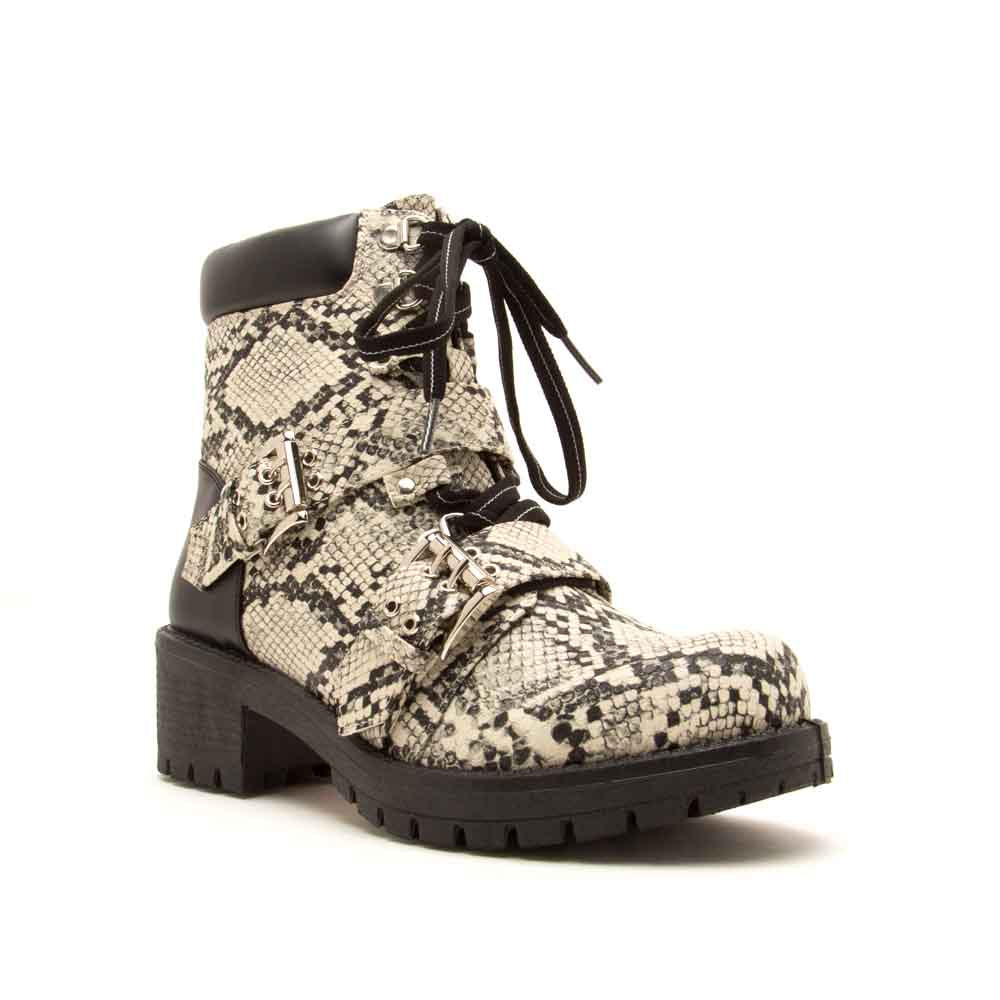Tressa-01 Stone Black Snake Lace Up Combat Booties