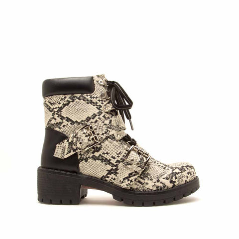 2688fcd18926 Tressa-01 Stone Black Snake Lace Up Combat Booties