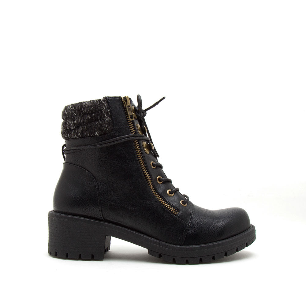 Tressa-21X Black Combat Knit Booties