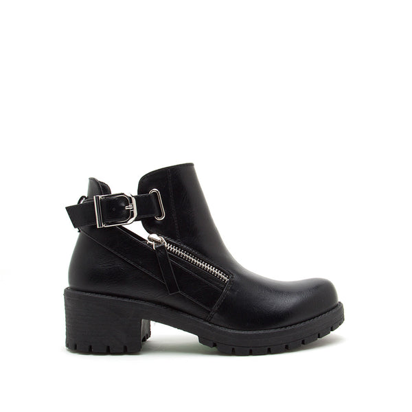 Tressa-22X Black Buckle Booties