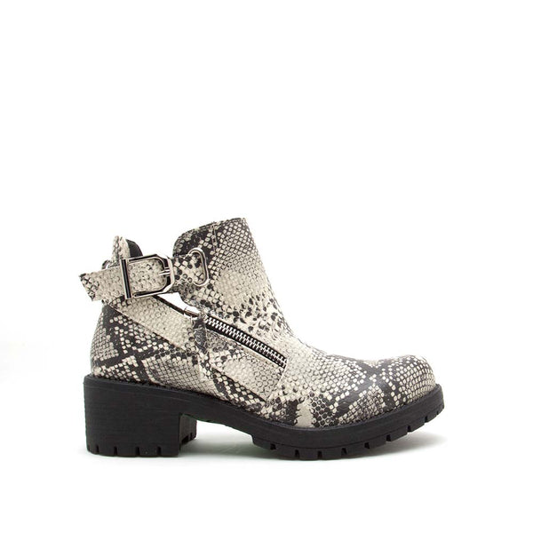 Tressa-22X Stone Black Snake Buckle Booties