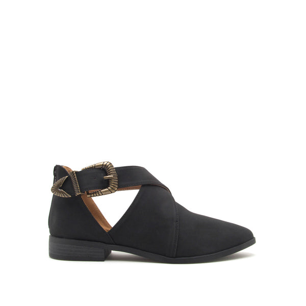 Tuxedo-120X Black Cross Band Ballerinas