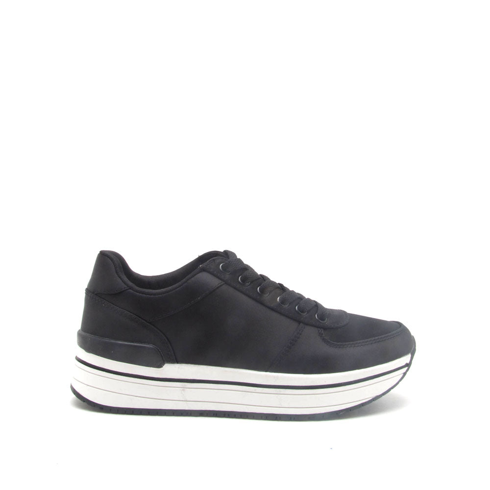 Tweed-01 Black Platform Lace Up Sneaker