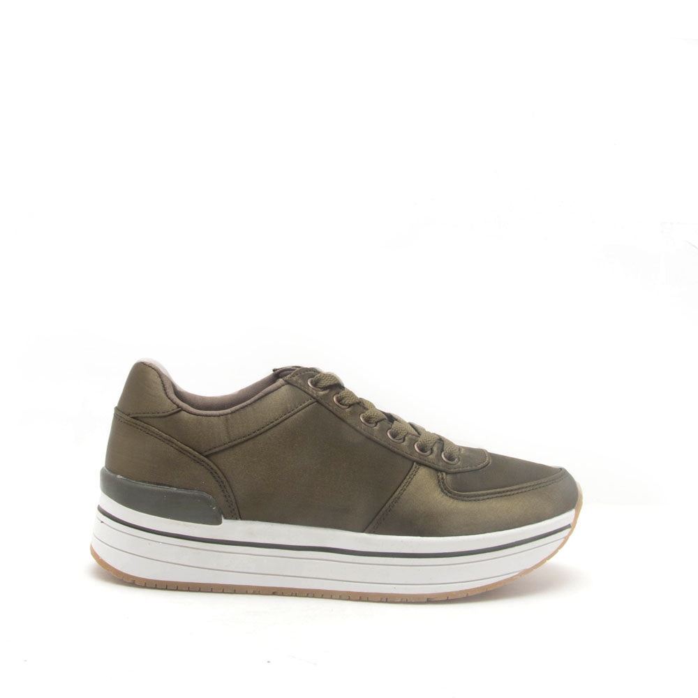 Tweed-01 Khaki Platform Lace Up Sneaker